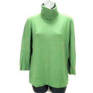 White + Warren Green Turtleneck Sweater Pullover L